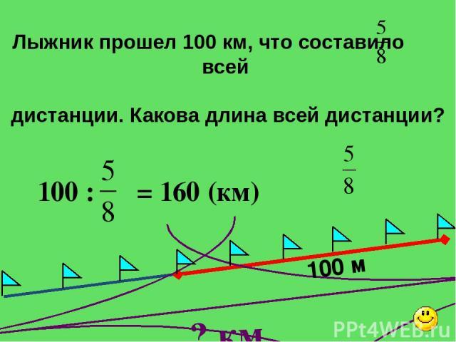 100 м ? км Лыжник прошел 100 км, что составило всей дистанции. Какова длина всей дистанции? 100 : = 160 (км) Математика 6 класс. Н.Я.Виленкин. №631.