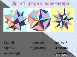 Зірчаті форми додекаедра Малий великий великий зірчатий додекаедр зірчатий додек