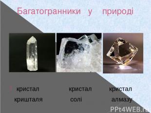 Багатогранники у природі кристал кристал кристал кришталя солі алмазу
