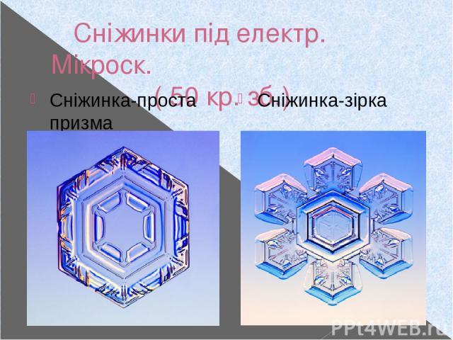 Сніжинки під електр. Мікроск. ( 50 кр. зб.) Сніжинка-проста призма Сніжинка-зірка