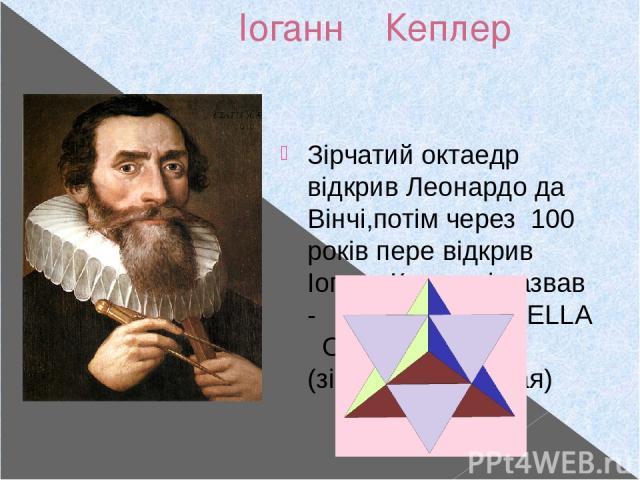 Іоганн Кеплер 27.12.1571- 15.11.1630 Зірчатий октаедр відкрив Леонардо да Вінчі,потім через 100 років пере відкрив Іоганн Кеплер і назвав - STELLA OSTANGULA (зірка вісімкутовая)
