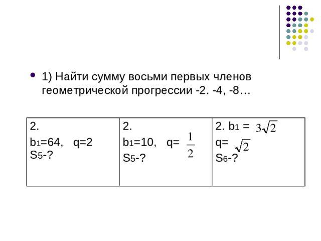 1) Найти сумму восьми первых членов геометрической прогрессии -2. -4, -8…