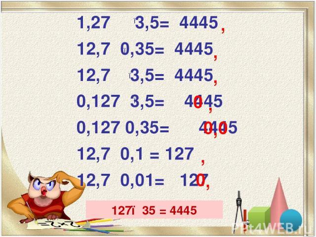 1,27 3,5= 4445 12,7 0,35= 4445 12,7 3,5= 4445 0,127 3,5= 4445 0,127 0,35= 4445 12,7 0,1 = 127 12,7 0,01= 127 ● ● ● ● ● , , , , , 0 0 0 ● ● , , 0 127●35 = 4445