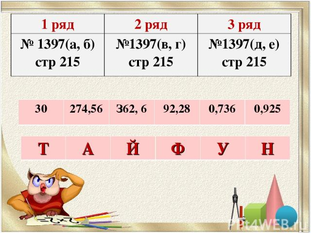 1 ряд 2 ряд 3 ряд № 1397(а, б) стр 215 №1397(в, г) стр 215 №1397(д, е) стр 215 30 274,56 З62, 6 92,28 0,736 0,925 Т А Й Ф У Н