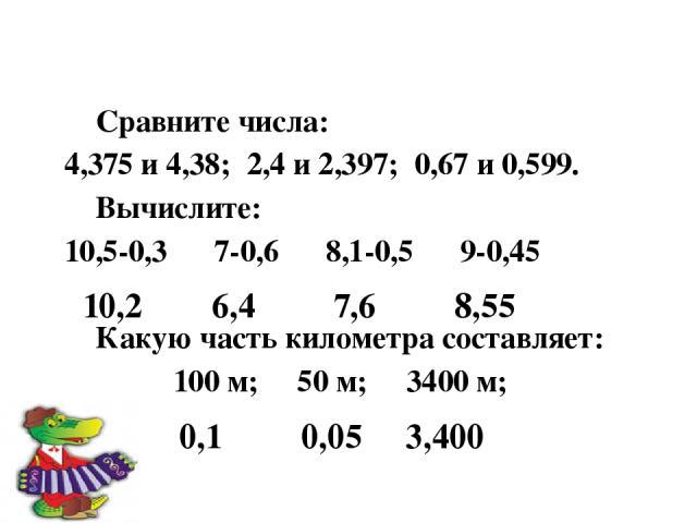 Сравните числа: 4,375 и 4,38; 2,4 и 2,397; 0,67 и 0,599. Вычислите: 10,5-0,3 7-0,6 8,1-0,5 9-0,45 Какую часть километра составляет: 100 м; 50 м; 3400 м; 10,2 6,4 7,6 8,55 0,1 0,05 3,400