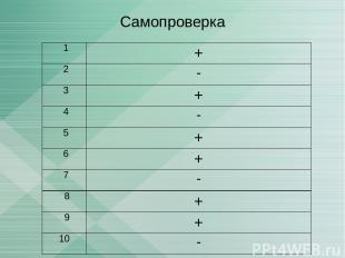 Самопроверка 1 + 2 - 3 + 4 - 5 + 6 + 7 - 8 + 9 + 10 -