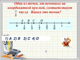 Одна из точек, отмеченных на координатной прямой, соответствует числу Какая эт