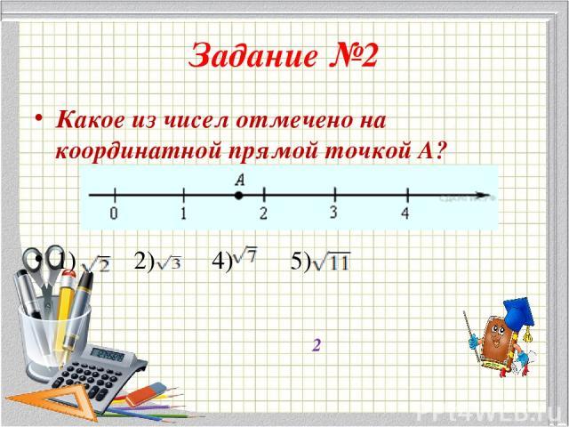 Задание №2 Какое из чисел отмечено на координатной прямой точкой A? 1) 2) 4) 5) 2