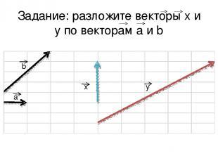 Задание: разложите векторы x и y по векторам a и b