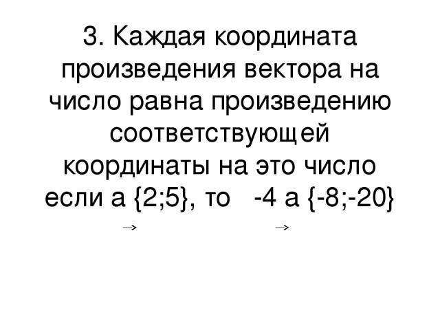 3. Каждая координата произведения вектора на число равна произведению соответствующей координаты на это число если a {2;5}, то -4 a {-8;-20}