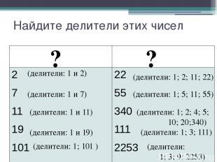 Найдите делители этих чисел ? ? (делители: 1 и 2) (делители: 1; 2; 11; 22) (дели