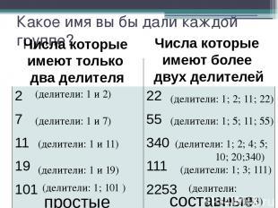 Какое имя вы бы дали каждой группе? (делители: 1 и 2) (делители: 1; 2; 11; 22) (