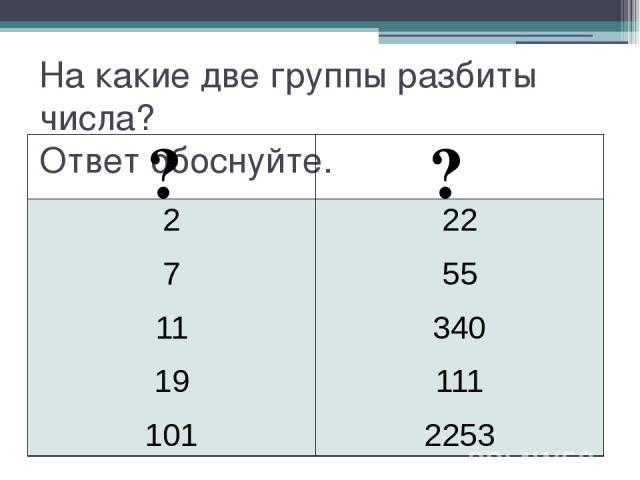 На какие две группы разбиты числа? Ответ обоснуйте. ? ? 2 7 11 19 101 22 55 340 111 2253