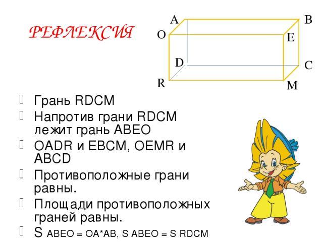 РЕФЛЕКСИЯ Грань RDCM Напротив грани RDCM лежит грань ABEO OADR и EBCM, OEMR и ABCD Противоположные грани равны. Площади противоположных граней равны. S ABEO = OA*AB, S ABEO = S RDCM A O E D M R C B