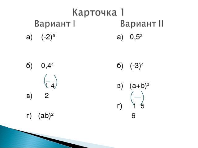 а) (-2)5  б) 0,44 1 4 в) 2 г) (ab)2 а) 0,52  б) (-3)4 в) (a+b)3 г) 1 5 6