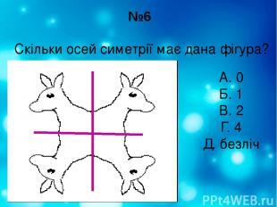 №6 Скільки осей симетрії має дана фігура? А. 0 Б. 1 В. 2 Г. 4 Д. безліч