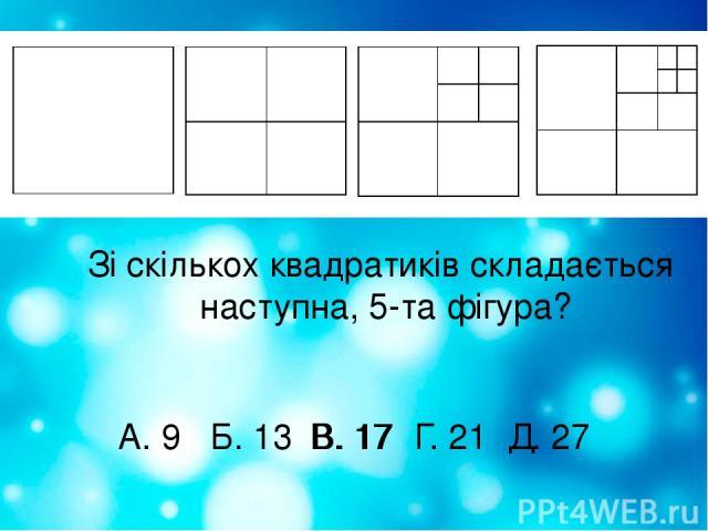 Зі скількох квадратиків складається наступна, 5-та фігура? А. 9 Б. 13 В. 17 Г. 21 Д. 27 В. 17