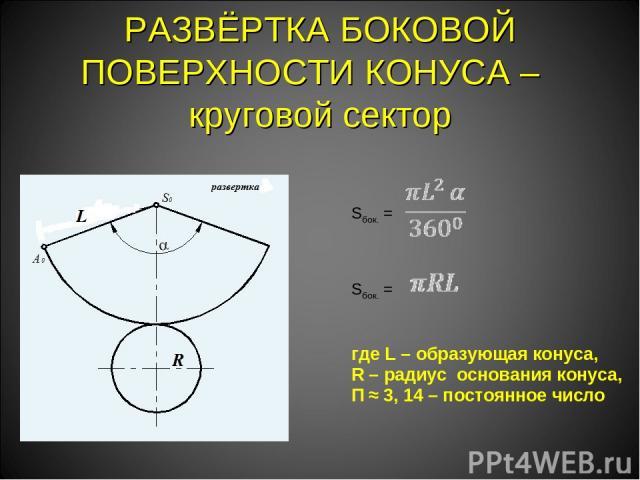 РАЗВЁРТКА БОКОВОЙ ПОВЕРХНОСТИ КОНУСА – круговой сектор Sбок. =  Sбок. = где L – образующая конуса, R – радиус основания конуса, Π ≈ 3, 14 – постоянное число