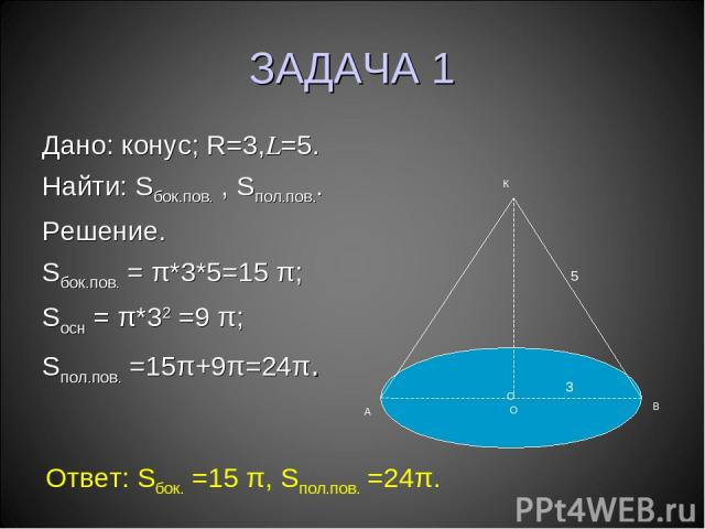 ЗАДАЧА 1 Дано: конус; R=3,L=5. Найти: Sбок.пов. , Sпол.пов.. Решение. Sбок.пов. = π*3*5=15 π; Sосн = π*32 =9 π; Sпол.пов. =15π+9π=24π. О А В К 3 5 О Ответ: Sбок. =15 π, Sпол.пов. =24π.