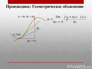 0 Производное: Геометрическое объяснение (с + ∆x, f(с + ∆x) (c, f(c)) ∆y ∆x
