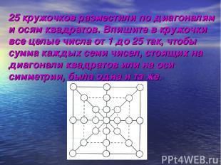 25 кружочков разместили по диагоналям и осям квадратов. Впишите в кружочки все ц