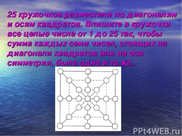 25 кружочков разместили по диагоналям и осям квадратов. Впишите в кружочки все целые числа от 1 до 25 так, чтобы сумма каждых семи чисел, стоящих на диагонали квадратов или на оси симметрии, была одна и та же.