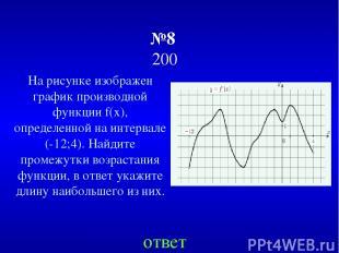 №8 200 На рисунке изображен график производной функции f(x), определенной на инт