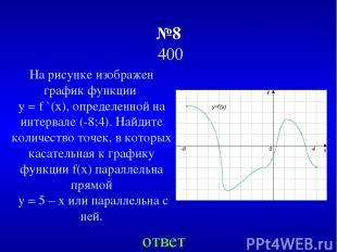 №8 400 ответ На рисунке изображен график функции y = f `(х), определенной на инт