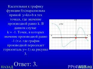 НАЗАД ВЫХОД Касательная к графику функции f(x)параллельна прямой у=kx+b в тех то