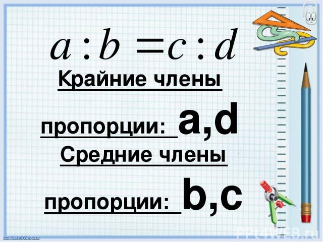 Крайние члены пропорции: a,d Средние члены пропорции: b,c