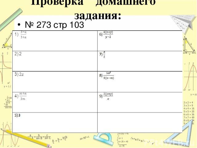 Проверка домашнего задания: № 273 стр 103