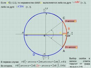 x y 0 1 1 –1 –1 2 A D B C Выбор скобок в записи ответа зависит от знака неравенс