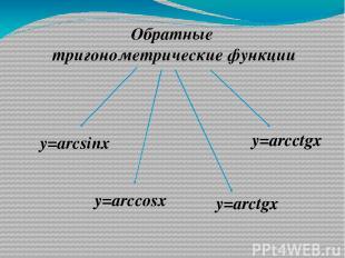 Обратные тригонометрические функции у=arcsinx у=arccosx у=arctgx у=arcctgx