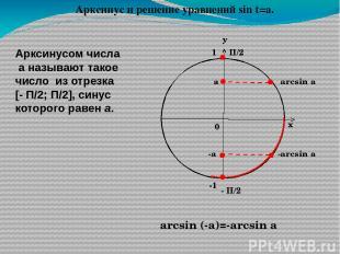 Арктангенсом числа а называют такое число из интервала (-П/2;П/2), тангенс котор