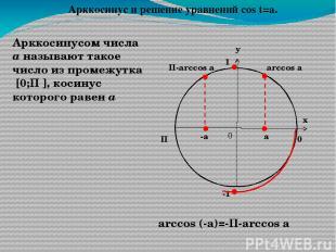 у х 0 1 П 0 Арккотангенсом числа а называют такое число из интервала (0;П), кота