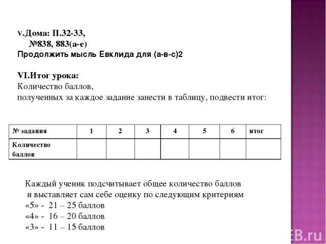 V.Дома: П.32-33, №838, 883(а-е) Продолжить мысль Евклида для (а-в-с)2 VI.Итог урока: Количество баллов, полученных за каждое задание занести в таблицу, подвести итог: Каждый ученик подсчитывает общее количество баллов и выставляет сам себе оценку по…