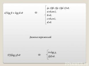 5) f(logax)>0 t=logax, f(t)>0. 6) logab × logcd>0 (a-1)(b-1)(c-1)(d-1)>0, a>0,a≠