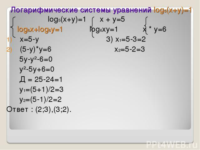 Логарифмические системы уравнений log5(x+y)=1 log5(x+y)=1 x + y=5 log6x+log6y=1 log6xy=1 x * y=6 x=5-y 3) x1=5-3=2 (5-y)*y=6 x2=5-2=3 5y-y²-6=0 y²-5y+6=0 Д = 25-24=1 y1=(5+1)/2=3 y2=(5-1)/2=2 Ответ : (2;3),(3;2).
