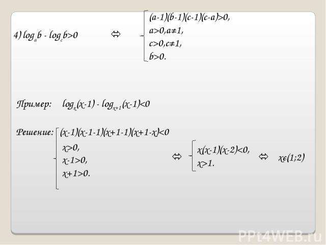 4) logab - logcb>0 (a-1)(b-1)(c-1)(c-a)>0, a>0,a≠1, c>0,c≠1, b>0. Пример: logx(x-1) - logx+1(x-1)0, x+1>0. x(x-1)(x-2)1. xє(1;2)