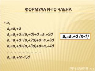 a1 a2=a1+d a3=a2+d=(a1+d)+d =a1+2d a4=a3+d=(a1+2d)+d=a1+3d a5=a4+d=(a1+3d)+d=a1+