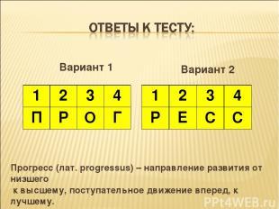 Вариант 1 Вариант 2 Прогресс (лат. progressus) – направление развития от низшего
