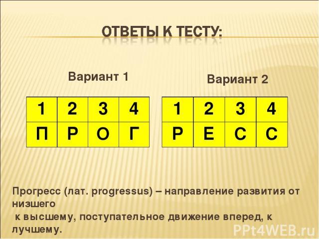 Вариант 1 Вариант 2 Прогресс (лат. progressus) – направление развития от низшего к высшему, поступательное движение вперед, к лучшему. 1 2 3 4 П Р О Г 1 2 3 4 Р Е С С