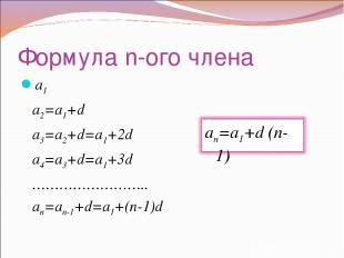 Формула n-ого члена a1 a2=a1+d a3=a2+d=a1+2d a4=a3+d=a1+3d …………………….. an=an-1+d=