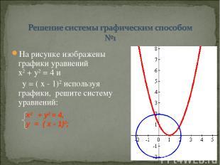 На рисунке изображены графики уравнений х2 + у2 = 4 и у = ( х - 1)2 используя гр