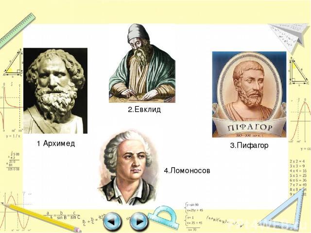 1 Архимед 2.Евклид 3.Пифагор 4.Ломоносов