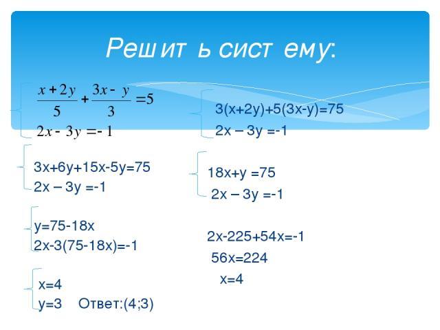 Решить систему: 3х+6у+15х-5у=75 2х – 3у =-1 у=75-18х 2х-3(75-18х)=-1 х=4 у=3 Ответ:(4;3) 3(х+2у)+5(3х-у)=75 2х – 3у =-1 18х+у =75 2х – 3у =-1 2х-225+54х=-1 56х=224 х=4
