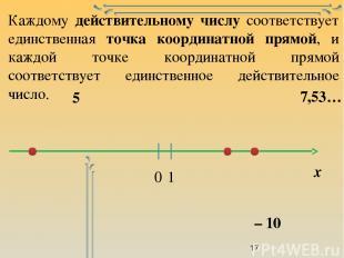 Каждому действительному числу соответствует единственная точка координатной прям