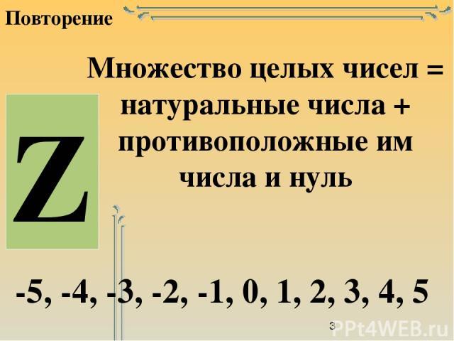 Повторение Множество целых чисел = натуральные числа + противоположные им числа и нуль -5, -4, -3, -2, -1, 0, 1, 2, 3, 4, 5 Z
