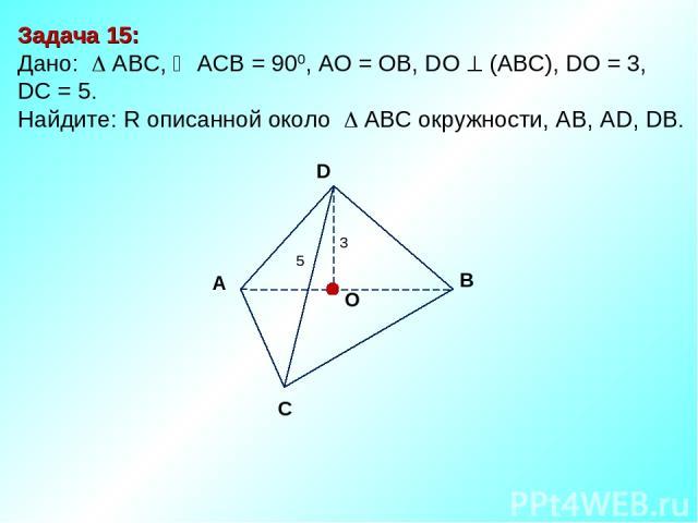 Задача 15: Дано: АBC, АСВ = 900, AО = ОB, DО (АВС), DО = 3, DC = 5. Найдите: R описанной около AВС окружности, АВ, АD, DB. D В С А O 3 5
