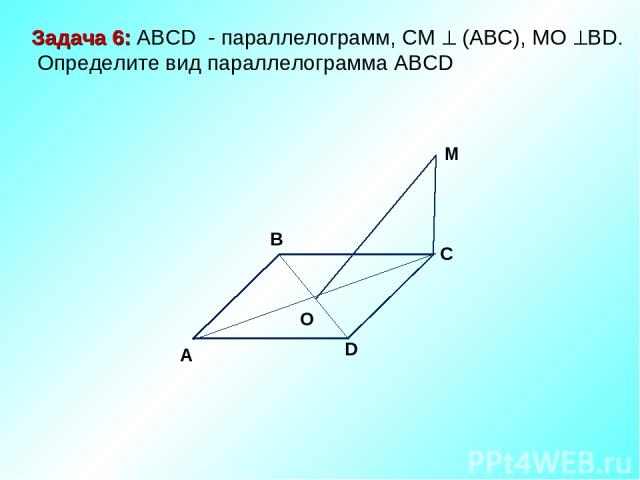 M C D O A B Задача 6: ABCD - параллелограмм, СМ (АВС), МО ВD. Определите вид параллелограмма АВСD